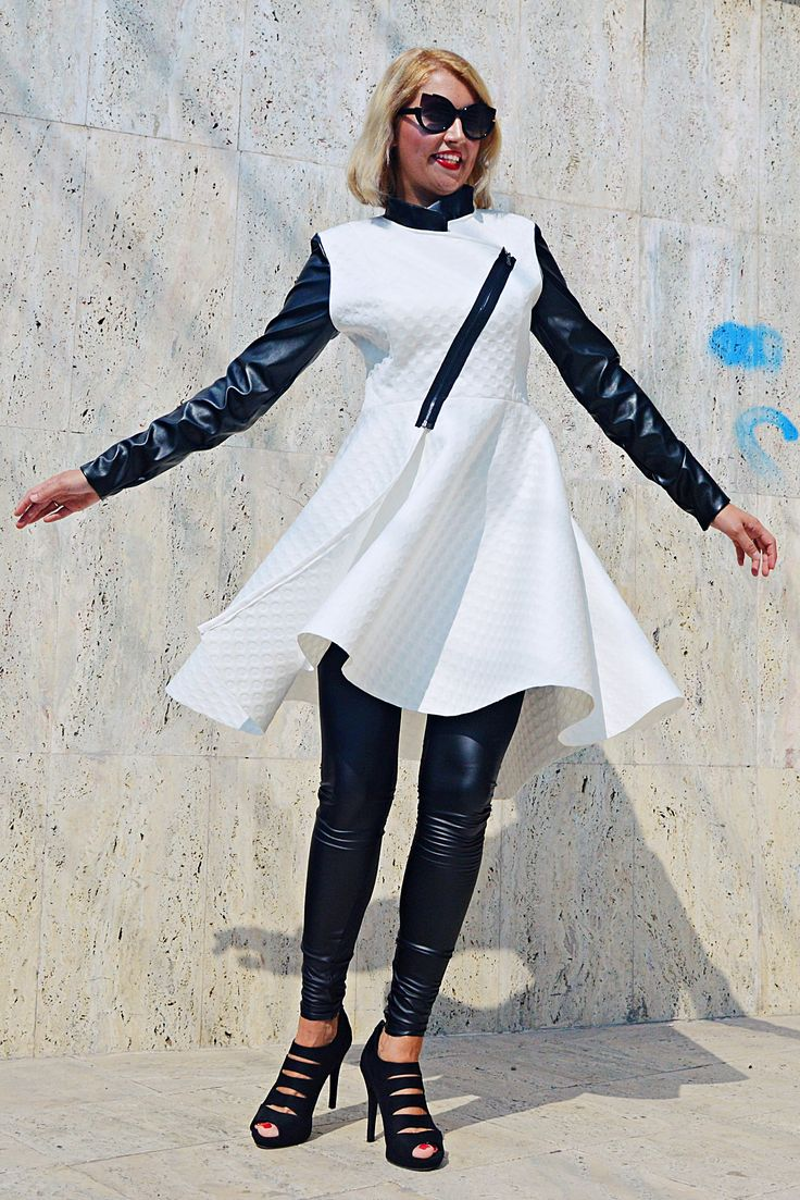 Just in: Extravagant White Jacket, White Neoprene Jacket with Faux Leather Sleeves, Flared White Jacket TC94 by TEYXO https://www.etsy.com/listing/549466829/extravagant-white-jacket-white-neoprene?utm_campaign=crowdfire&utm_content=crowdfire&utm_medium=social&utm_source=pinterest