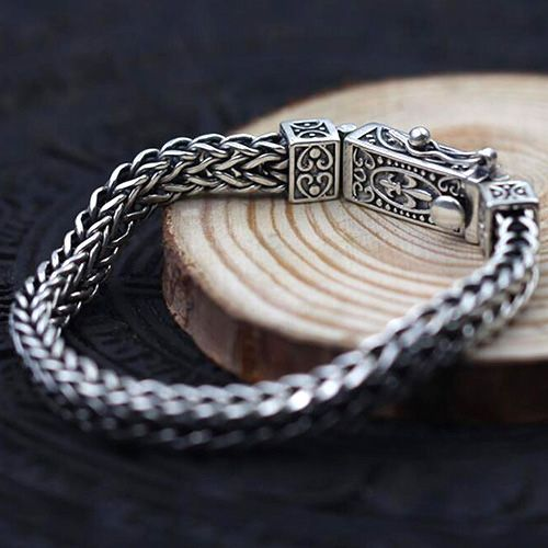 Men's Sterling Silver Fleur De Lis Wheat Chain Bracelet