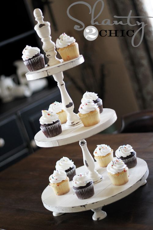Wonderful cupcake tower!  Love the shabby chic design - need one just like this!Cup Cakes, Cupcake Stands, Shabby Chic, Diy Cupcake Stand, Diy Cupcakes, Cupcakes Towers, Diy Projects, Cupcake Towers, Cupcakes Stands