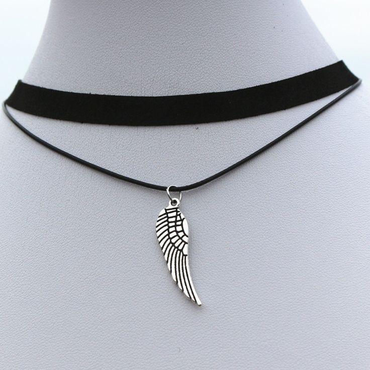 N915 천사 날개 초카 목걸이 여성 90의 여자 블랙 벨벳 다층 Collares 패션 보석 고딕 보석 펜던트 Colar