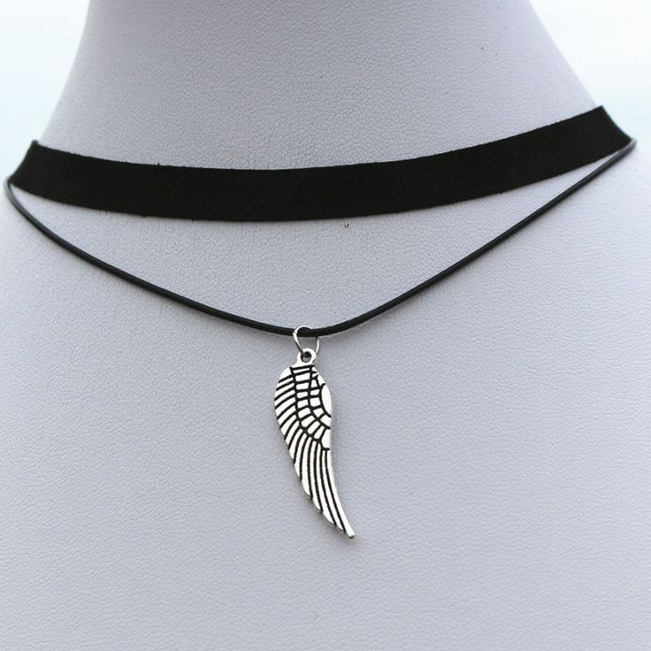 N915 Angel Wings Chokers Necklaces Women 90's Girls Black Velvet Multilayer Collares Fashion Jewelry Gothic Bijoux Pendant Colar