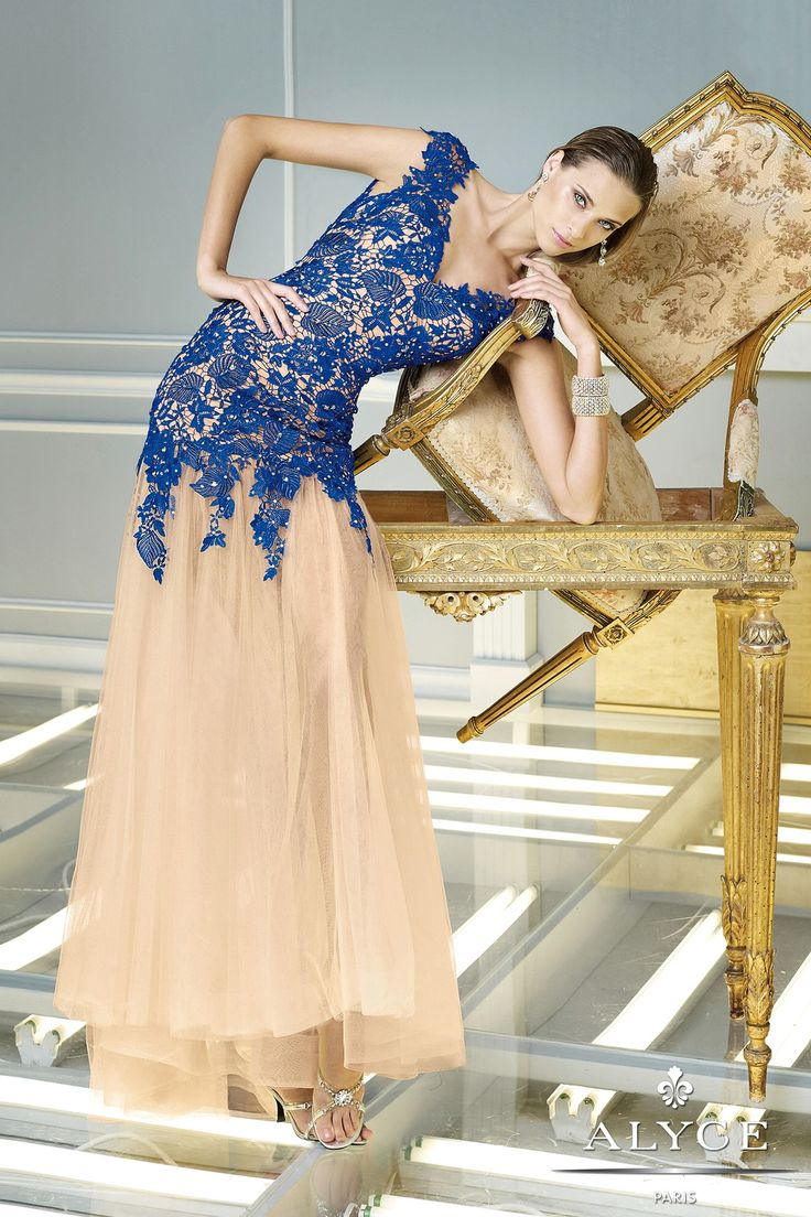 Spring 2014. Floor length evening gown with tulle skirt and lace bodice,Royal blue/Nude