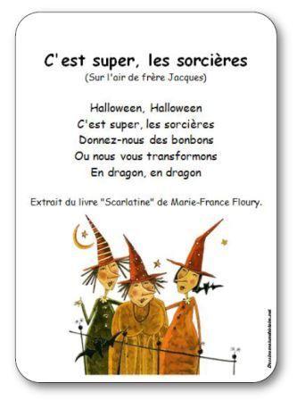 Comptine pour enfants maternelle, cycle 2, sur le thème d'Halloween et des sorcières. Comptine d'Halloween C'est super les sorcières