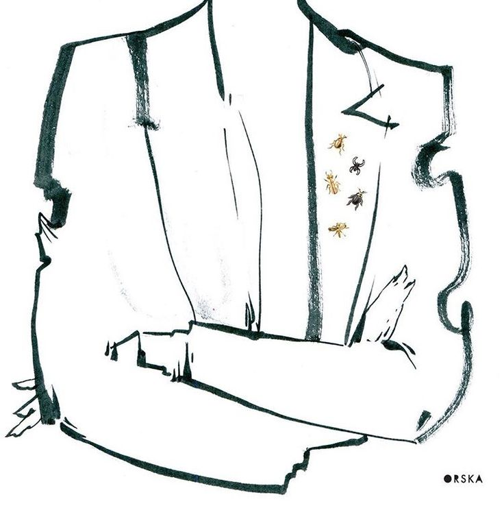Pins - perfect detail :) sketch by Anna Halarewicz, brooch from BERY collection by Anna Orska.
