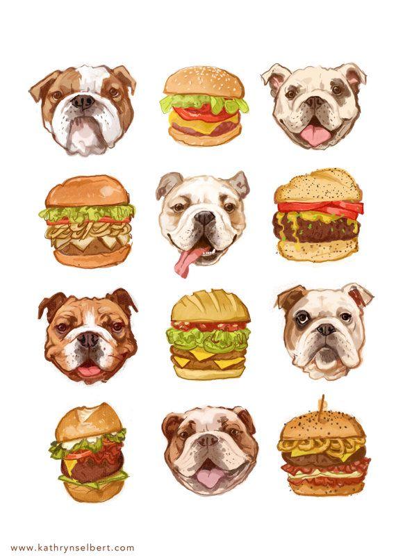 Fine Art Print - Bulldogs und Burger-Illustration