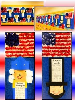 Presidents' Day George Washington Abe Lincoln Bulletin Board Bundle Craftivity...Differentiated Writing and Craft Templates included.  A perfect February Bulletin Board!