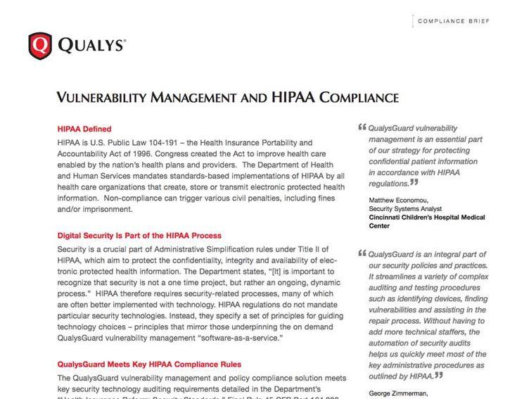 Free Brief HIPAA Digital Security Compliance Qualys