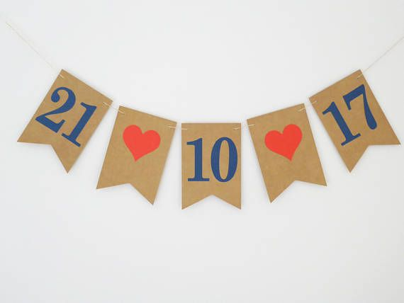 Save the date bunting engagement bunting red navy photo