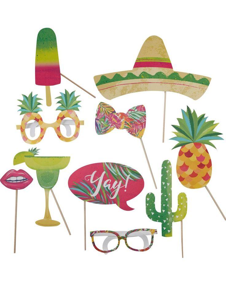 Kit photobooth da 10 pezzi tema tropicale su VegaooParty, negozio di articoli per feste. Scopri il maggior catalogo di addobbi e decorazioni per feste del web,  sempre al miglior prezzo!