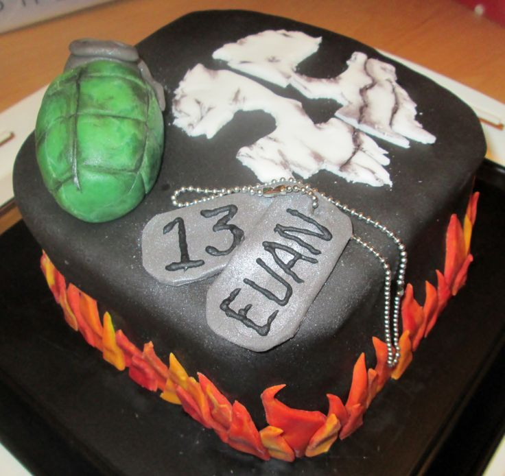 The Call of Duty Ghost cake that I made for my sons birthday :)