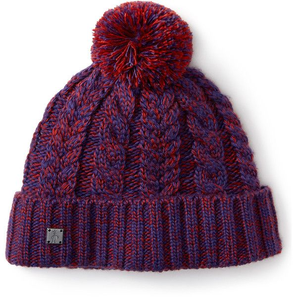 Smartwool Women's Ski Town Hat Hats (40 CAD) ❤ liked on Polyvore featuring accessories, hats, mountain purple, cable knit pom pom hat, pompom hat, smartwool hat, ski hat and pom pom hat