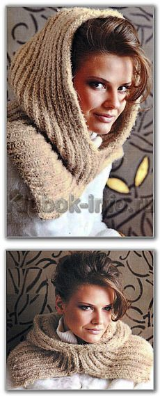 Вязание спицами. Однотонный шарф-капюшон на круговых спицах. Размеры: 58 х 62 см