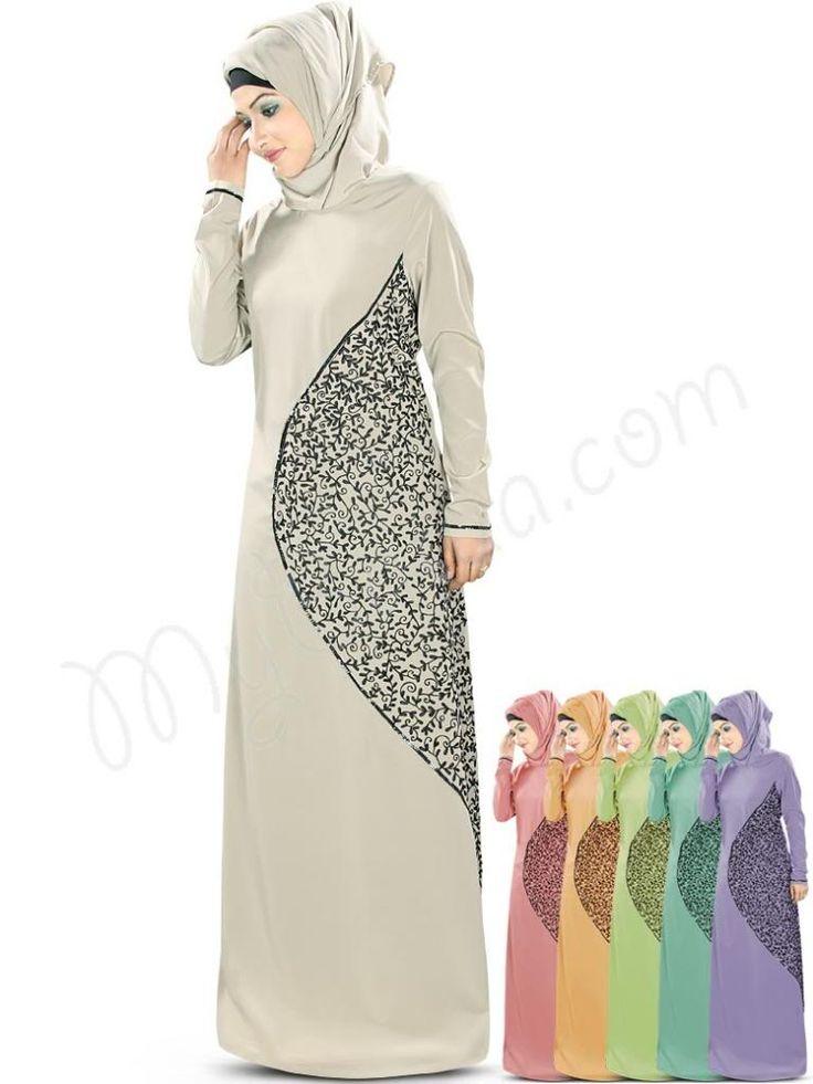 Beautiful Embroidered Warm Grey Party Wear Abaya | MyBatua.com  Hena Abaya!  Style No : AY-346  Shopping Link : http://www.mybatua.com/hena-abaya  Available Sizes XS to 7XL (size chart: http://www.mybatua.com/size-chart/#ABAYA/JILBAB   •Straight Abaya with round neckline •Beautiful embroidery in front finished with sequin lace •Straight sleeves with sequin lace at ends •Utility pockets on both sides