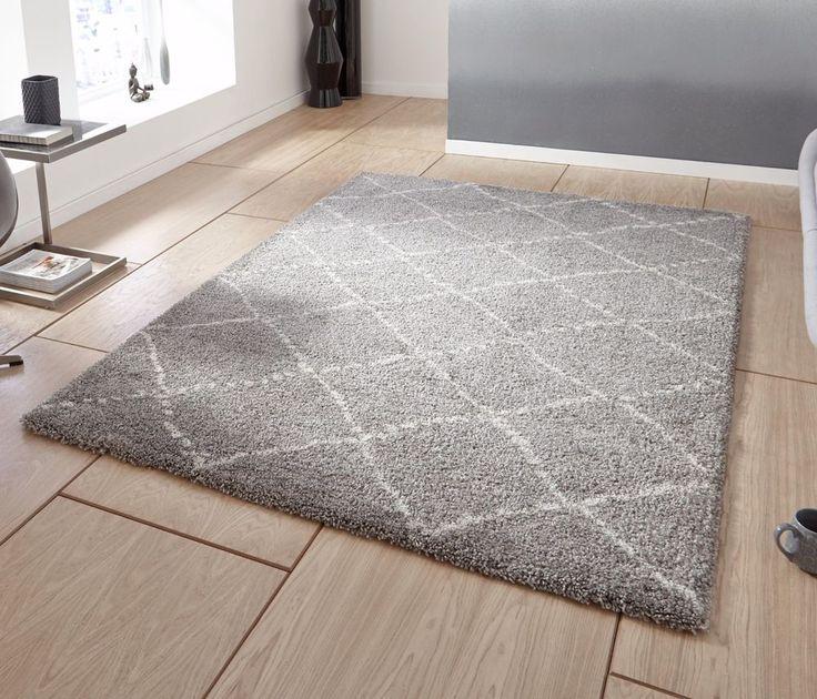 Grey cream contemporary shaggy rug 120 x 170 cm ~ 4ft x 5ft7