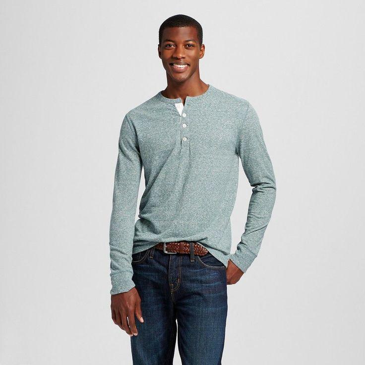 Men's Long Sleeve Henley Light Green XL - Merona, Arugula Green