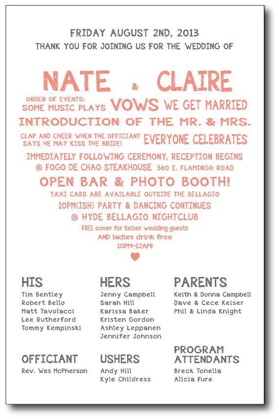 Sweetheart Wedding Ceremony Program