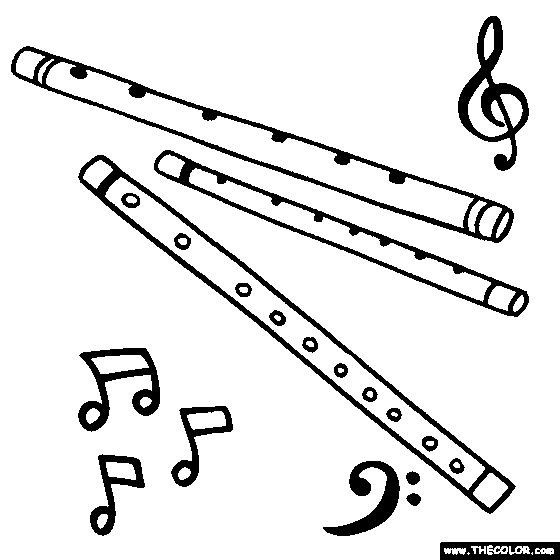 flute coloring page color wind instruments coloring