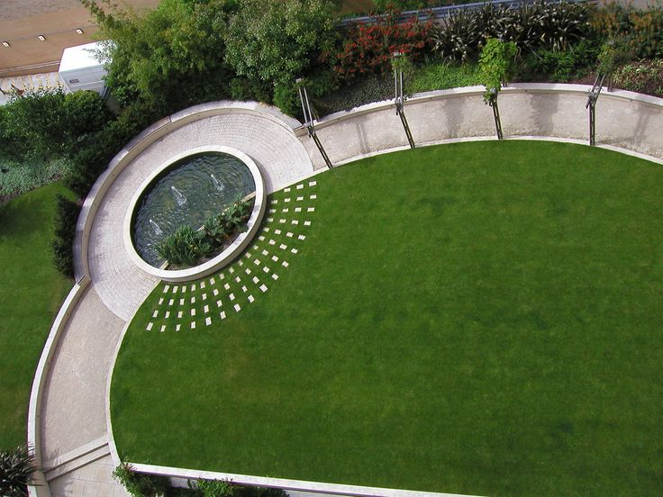 Landscape Design by Bowles & Wyer, The Pavillion Apartments. The large central lawn is surrounded by a sweeping path, punctuated by pergolas and a circular pool.