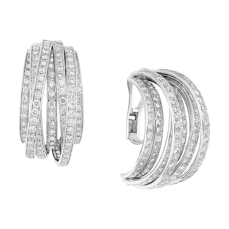 Pair of White Gold and Diamond Hoop Earclips