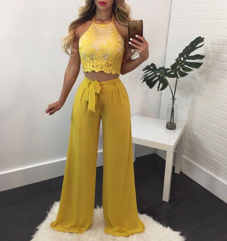 Jennifer Crochet Lace Top Pant Set