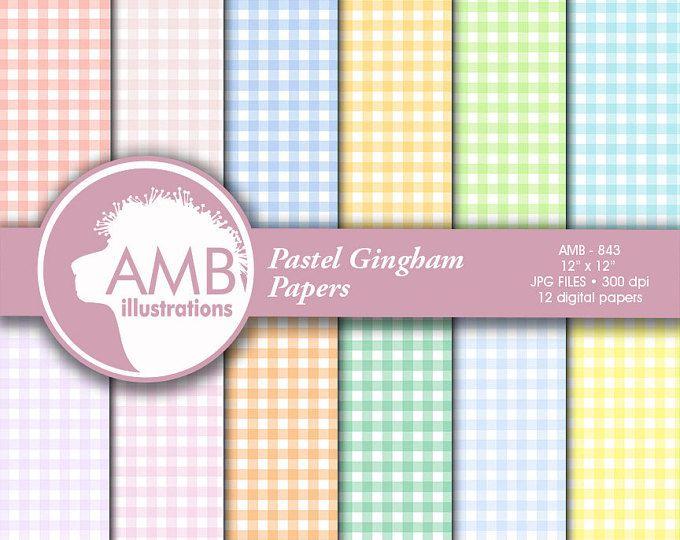 Documentos digitales moña, papeles de Pastel, papeles a cuadros, papeles de scrapbook de guinga, uso comercial, AMB-843