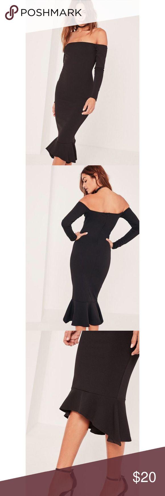 Bardot fishtail hem dress The dress for sale is navy blue! Worn once! Missguided Dresses Midi