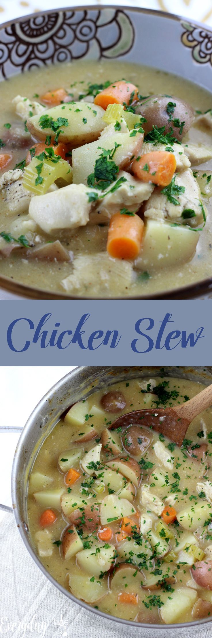 Warm and hearty, this Chicken Stew is loaded with carrots, potatoes, celery, white wine, and chunks of chicken! | EverydayMadeFresh.com http://www.everydaymadefresh.com/chicken-stew/