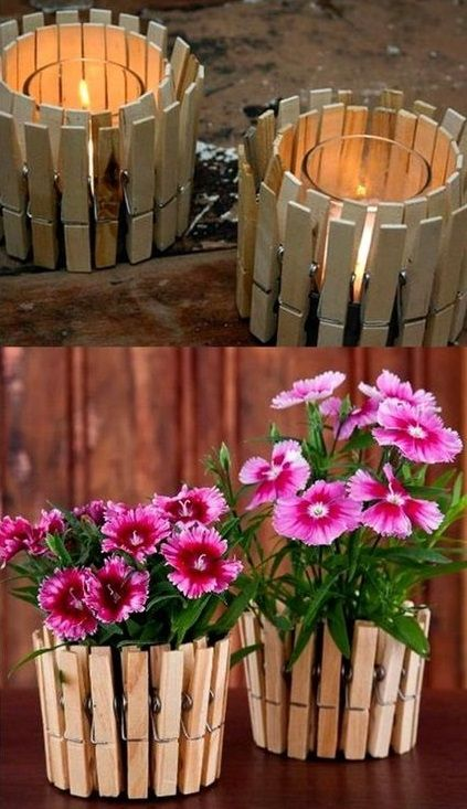 Clothespin Planter and Candle Holder - bellissimo!