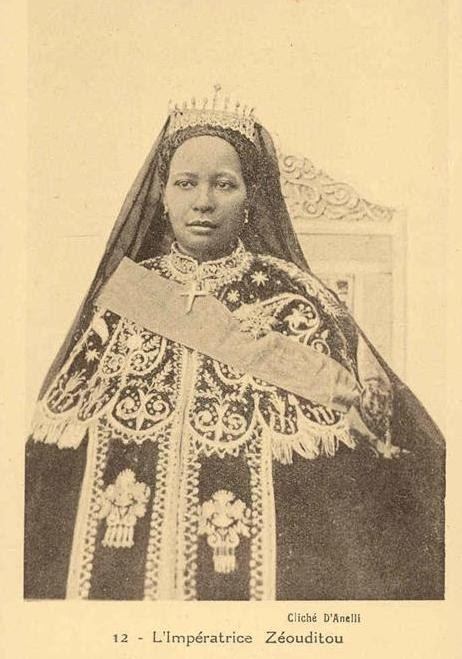 Zewditu I was Empress of Ethiopia from 1916 to 1930. The first woman head of an internationally recognized state in Africa in the 19th and 20th centuries, she was noted for opposing the reforms of Tafari Makonnen (later Emperor Haile Selassie I) and for her strong religious devotion.