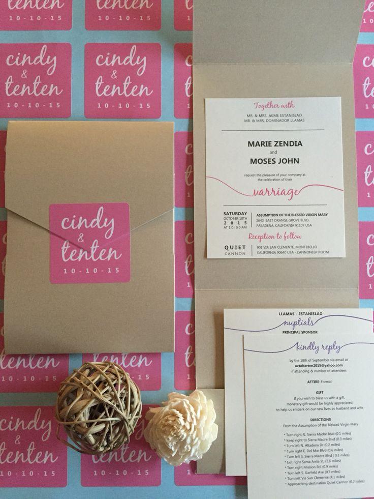 wedding invitation, pink, custom, rsvp, save the date, entourage, principal sponsors, secondary sponsors, gold envelope