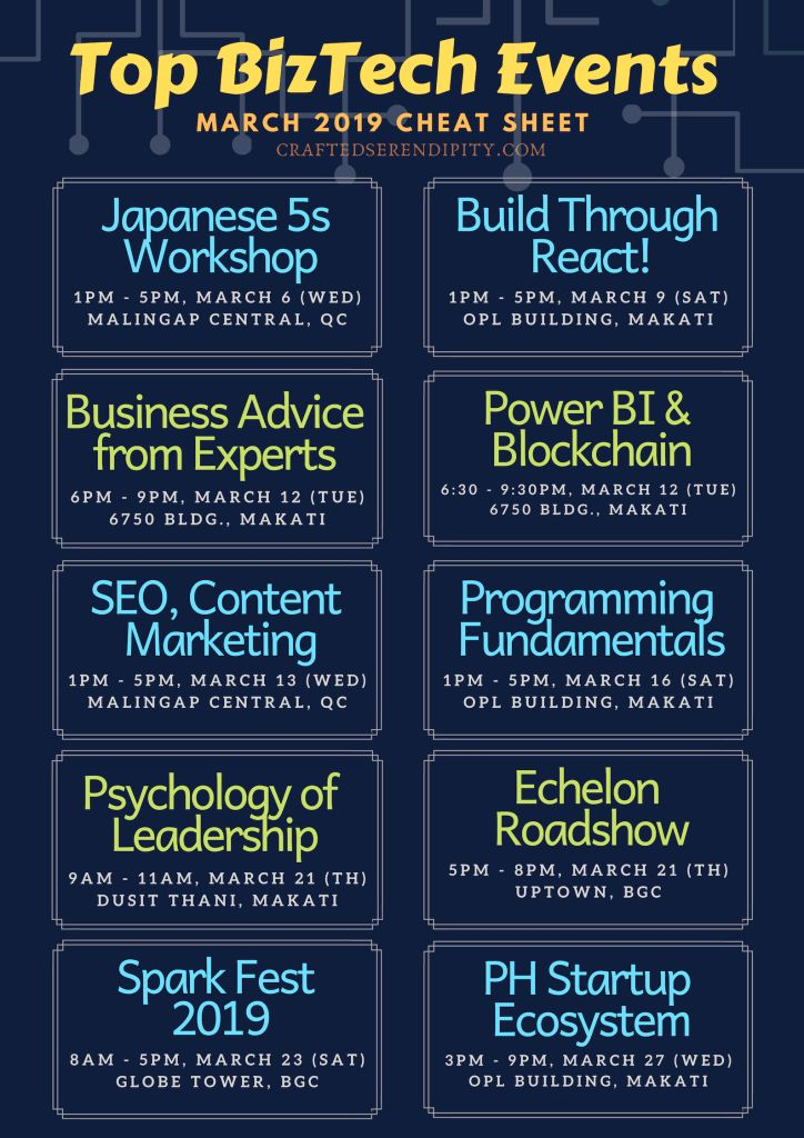 Top BizTech (Business and Technology) events happening this March 2019.   Already signed up to two of the listed events! Yay! #TechEvents #Seminar #Wo…