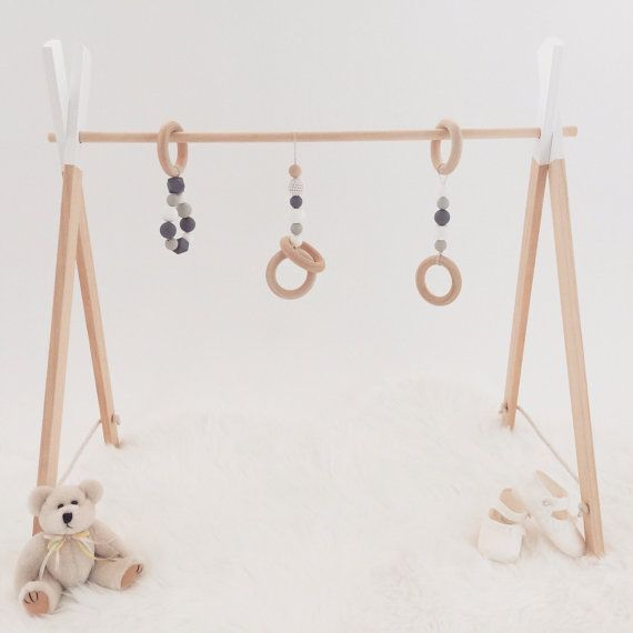 Timber wooden play gym baby activity centre play handmade toy scandinavian