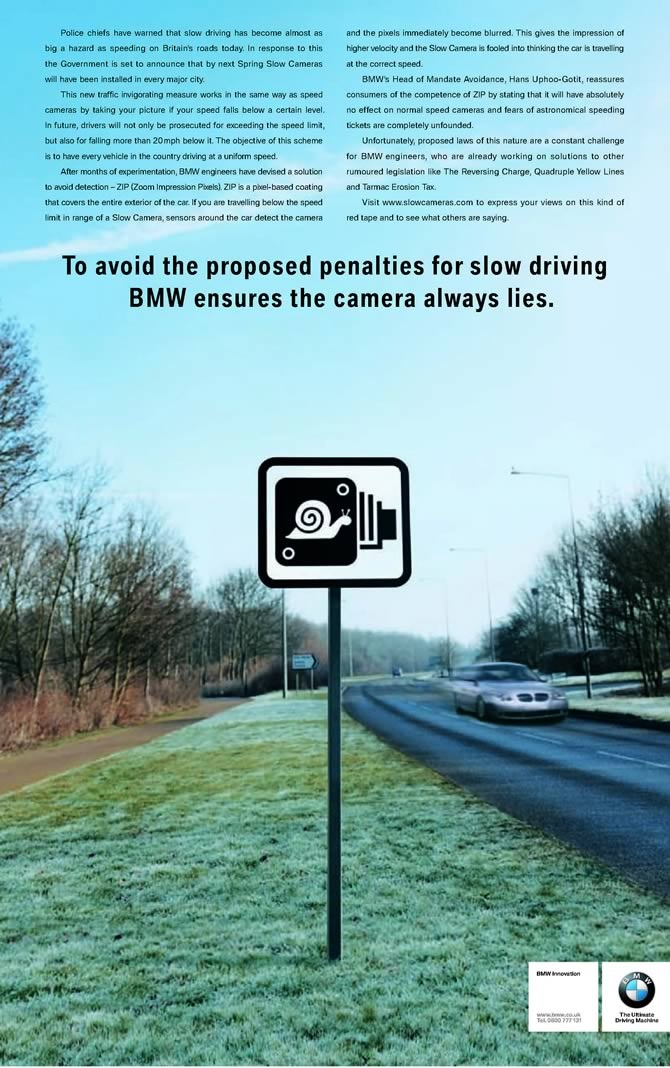 Picture of April Fools day advert - BMW ensures the camera always lies