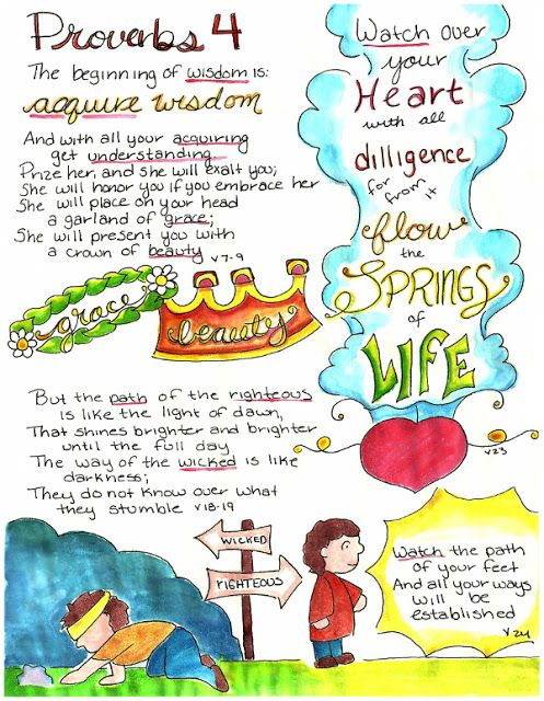 Doodle Through The Bible: Proverbs 4  Illustrated Faith Journal entry for Good Morning Girls (GMG) Bible Study, Free printable PDF Coloring page link at the website.