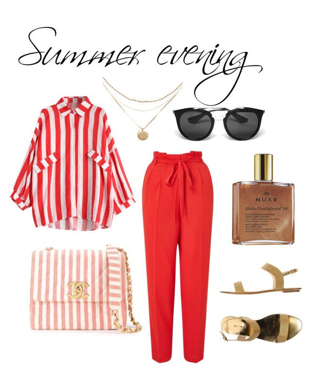 Summer evening by lawastyle on Polyvore featuring Miss Selfridge, Etro, Chanel, Prada and Nuxe