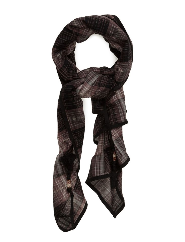 DAY - Day Lassana Soft and beautiful scarf crafted from warm yet lightweight cotton- a Perfect year-round layering piece. The scarf is timeless and woven in a natural coloured check pattern.  Tassel details Classic Elegant Wrap around style