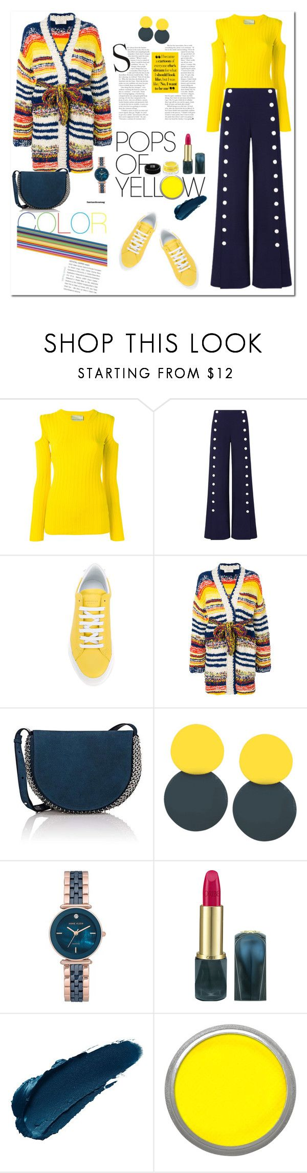 """""""Pops of Yellow Style"""" by ellie366 ❤ liked on Polyvore featuring Erika Cavallini Semi-Couture, Tory Burch, Givenchy, Pringle of Scotland, Paco Rabanne, Anne Klein, Oribe, Suva Beauty, stripes and sneakers"""