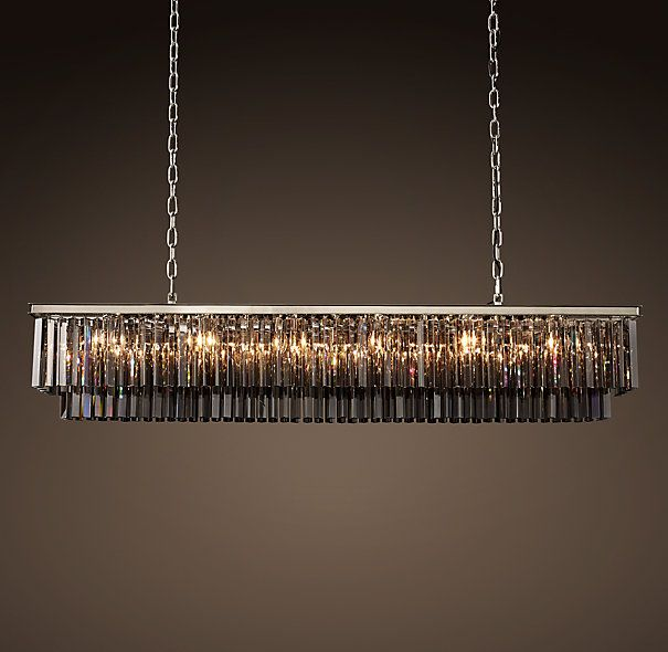 restoration hardware odeon smoke glass fringe rectangular chandelier comes in different finishes