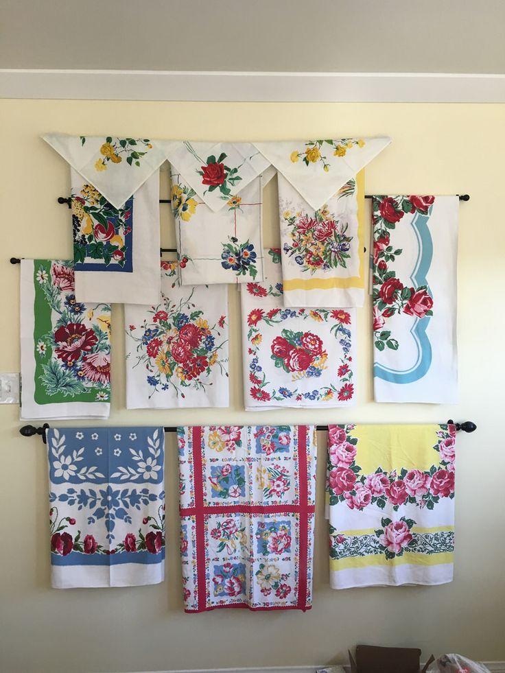 Vintage tablecloth display