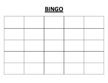 Blank Bingo Card--print on card stock, laminate, use dry erase markers. Could be used for Math, Vocabulary, etc.