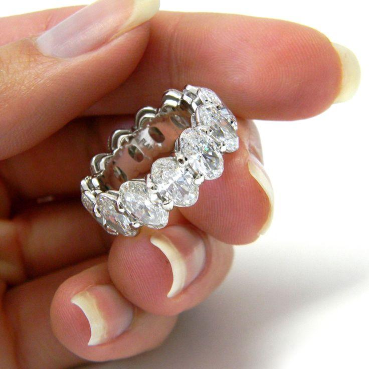 9.75ct Oval-Cut Diamond Platinum Eternity  Band Ring