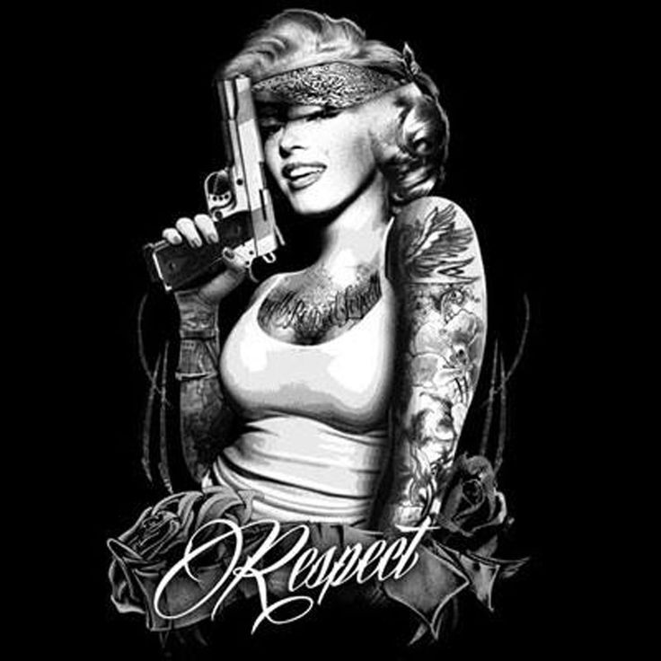 Marilyn Monroe Gangster Mens Black T Shirt  Outlaw Tattoos Guns Small to 3X Tall #TShirtsRule #GraphicTee