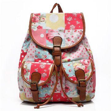 Student Flower Printing Backpack