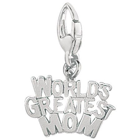 Women's Sterling Silver Worlds Greatest Mom Clip-On Charm