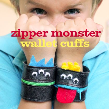 DIY|Zipper Monster Wallet Wrist Cuffs - These wrist cuff wallets are just big enough to hold a few dollars or a bit of pocket change for things like lunch money and gumball machines.