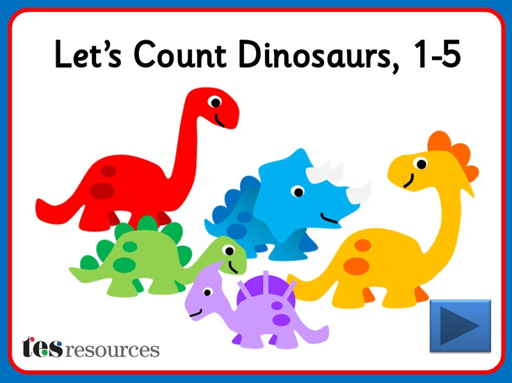 Interactive counting screens to count amounts between 1 and 5. Choose from different dinosaurs and count them as they appear one-by-one on the screen. You can then click each object to see the digits as you count.
