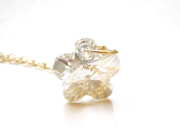 Crystal pendant necklace,Swarovski Crystal, Gold filled chain by jljewellerydesign on Etsy