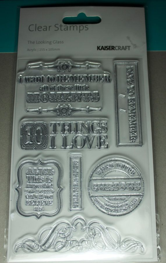 Brand new still in packet Kaisercraft - The Looking Glass clear stamp set.
