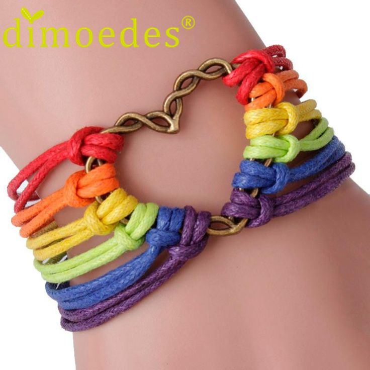 Charm Demon Rainbow Flag Pride LGBT Charm Heart Braided Bracelet