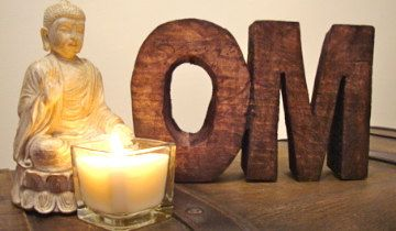 Rustic Wooden OM home feature...love this. Perfect for your meditation corner.